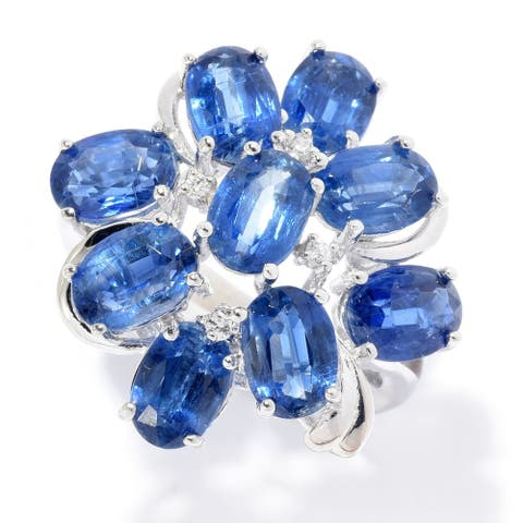 Sterling Silver 8.51ctw Kyanite & White Zircon Flower Ring