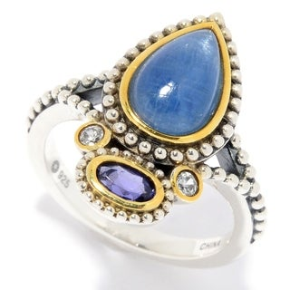 Pinctore Sterling Silver Kyanite, Iolite & White Zircon Beaded Ring