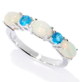 Pinctore Sterling Silver Ethiopian Opal & Neon Apatite 5-Stone Band Ring