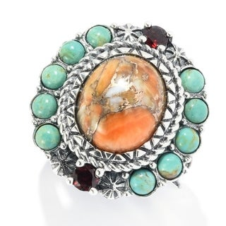 Pinctore Sterling Silver Orange Spiny Oyster & Gemstone Halo Ring