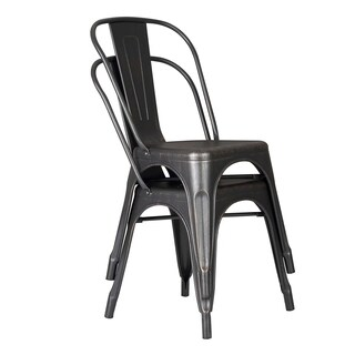 "HomeRoots Furniture 18"" Seat Height Distressed Black Metal Dining Chair with Back - Set of 2"