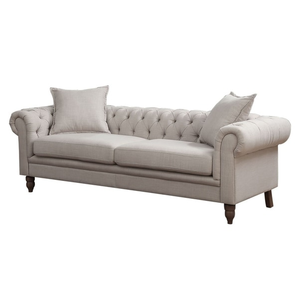 Shop HomeRoots Furniture Small Chesterfield Tufted Beige