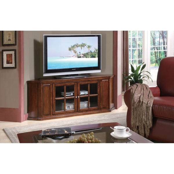 Homeroots Furniture Bwood Corner Tv Stand In Oak Finish