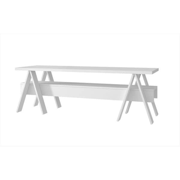 """HomeRoots Furniture 53.15"""" Industrial Style TV Stand with 1 Lower Shelf in White"""