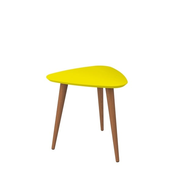 """HomeRoots Furniture 19.68"""" High Triangle End Table with Splayed Wooden Legs - Yellow"""