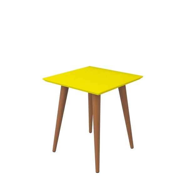 """HomeRoots Furniture 19.68"""" High Square End Table with Splayed Wooden Legs - Yellow"""
