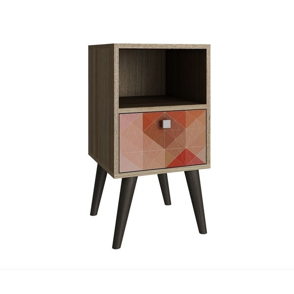 HomeRoots Furniture Side Table with 1 Cubby and 1 Drawer in Oak and Colorful Stamp Door