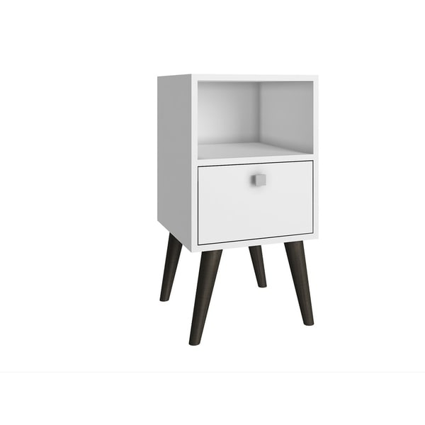 HomeRoots Furniture Side Table with 1 Cubby and 1 Drawer in White