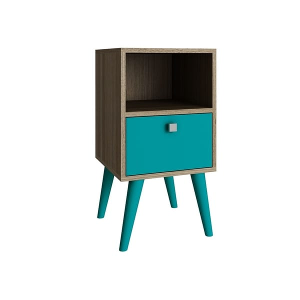 HomeRoots Furniture Side Table with 1 Cubby and 1 Drawer in Oak and Aqua