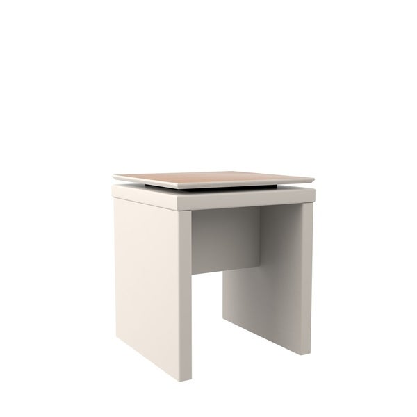 HomeRoots Furniture Mid Century Modern Square End Table in Off White and Maple Cream