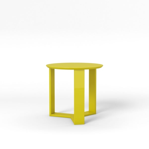 """HomeRoots Furniture Madison 2.0 Round Accent End Table in Lime Gloss - 23.85"""""""