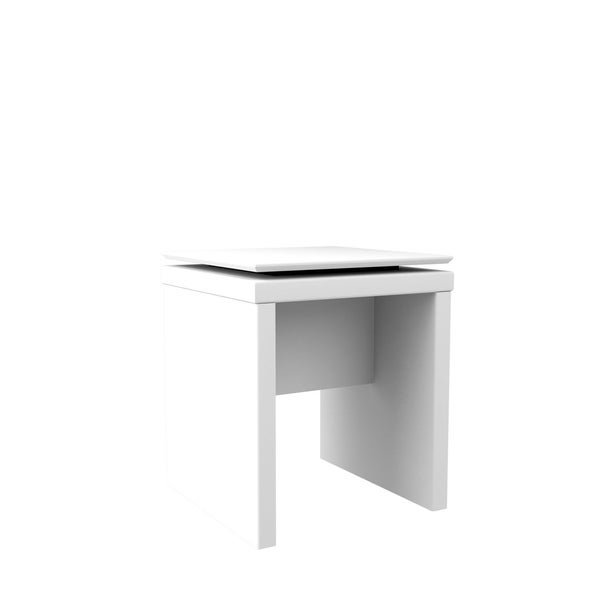 HomeRoots Furniture Mid Century Modern Square End Table in White Gloss