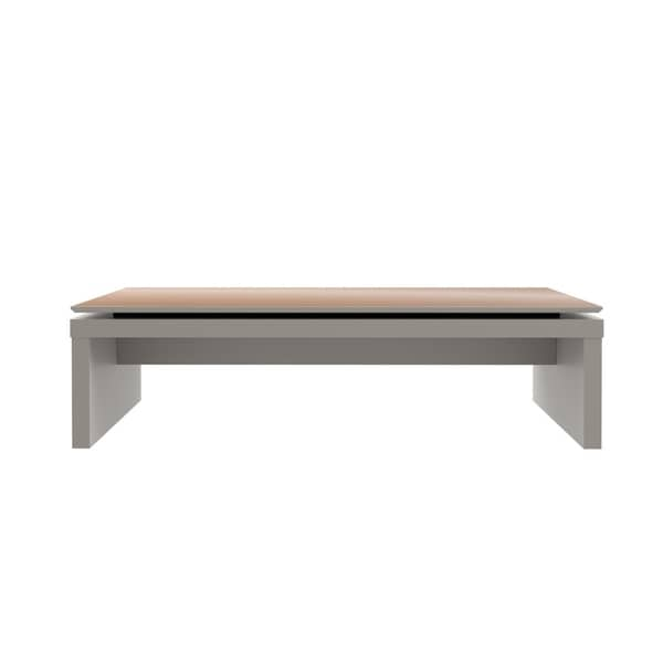 HomeRoots Furniture Rectangle Coffee Table in Off White and Maple Cream
