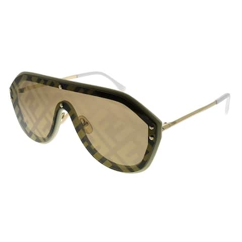 Fendi Men Shield FF M0039/G/S 10A 7Y Unisex Beige Frame Gold Fendi Print Mirror Lens Sunglasses