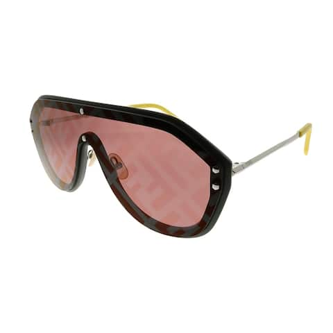 Fendi Men Shield FF M0039/G/S KB7 7Y Unisex Grey Frame Red Fendi Print Lens Sunglasses