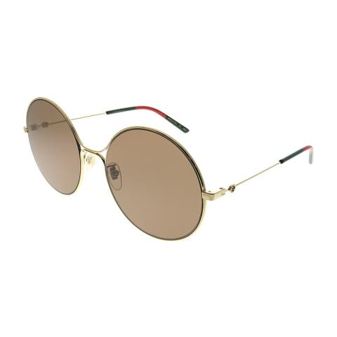 Gucci Round GG 0395S 002 Women Gold Frame Brown Lens Sunglasses