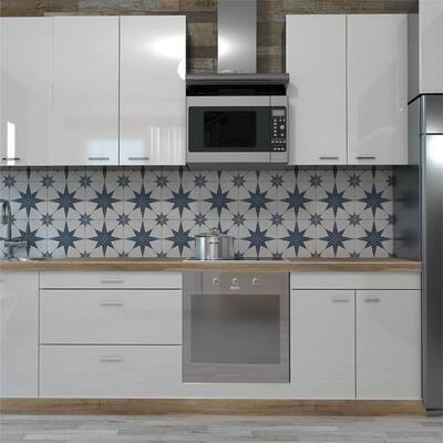 "SomerTile Stella Azul Encaustic 9.75"" x 9.75"" Porcelain Floor and Wall Tile"