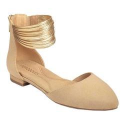 Women's Aerosoles Girl Talk Ankle Strap D'Orsay Flat Nude Faux Suede/Faux Leather