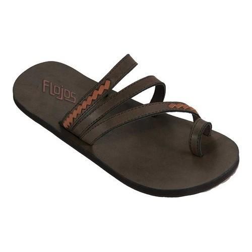 Women's Flojos Athena Toe Loop Sandal Brown/Tan Microfiber