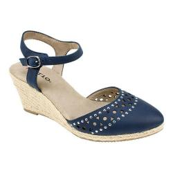 Women's Rialto Constance Closed Toe Espadrille Sandal Navy Suede Smooth Polyurethane