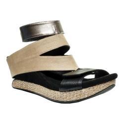 Women's MODZORI Olivia Wedge T-Strap Sandal Silver/Taupe/Black Reversible