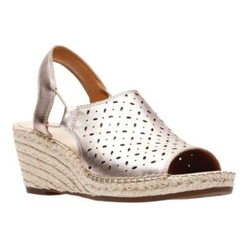 999880bf053 Shop Women s Clarks Petrina Gail Wedge Sandal Gold Metal Leather - On Sale  - Free Shipping Today - Overstock - 20590171