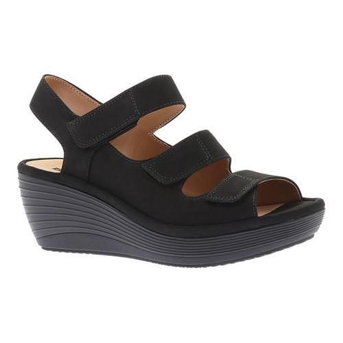 fd2481e84d12 Shop Women s Clarks Reedly Juno Wedge Sandal Black Black Goat Nubuck - Free  Shipping Today - Overstock - 20590179