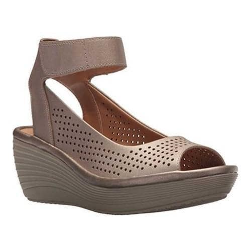 32998e464b4f Shop Women s Clarks Reedly Salene Wedge Ankle Strap Pewter Leather - Free  Shipping Today - Overstock - 20590182