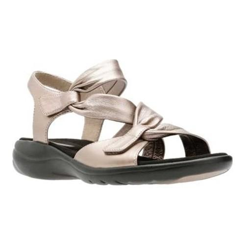Women's Clarks Saylie Moon Strappy Sandal Pewter Metallic Full Grain Leather