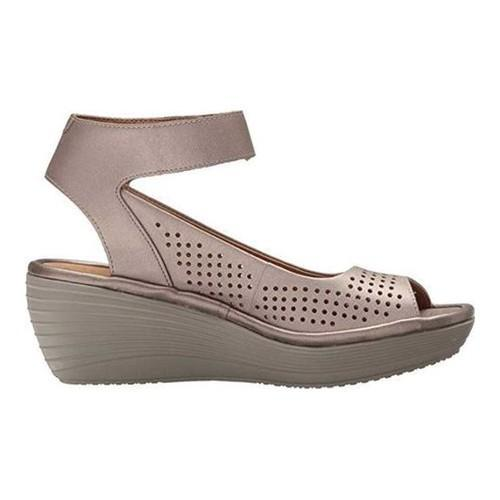 e5773dcbd3c ... Thumbnail Women  x27 s Clarks Reedly Salene Wedge Ankle Strap Pewter  Leather ...