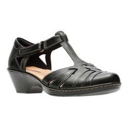 Women's Clarks Wendy Alto T Strap Black Full Grain Leather