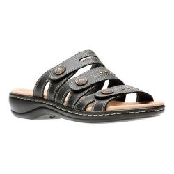 Women's Clarks Leisa Lakia Slide Sandal Black Full Grain Leather