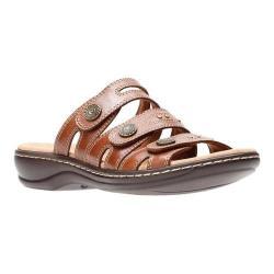 Women's Clarks Leisa Lakia Slide Sandal Dark Tan Full Grain Leather (More options available)