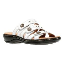 Women's Clarks Leisa Lakia Slide Sandal White Full Grain Leather