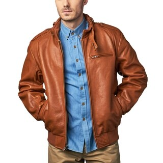 Men's Cognac Lambskin Leather Bomber Jacket with Moto Collar