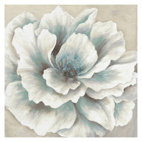 Blue and Cream Peony by Willowbrook Fine Art Canvas
