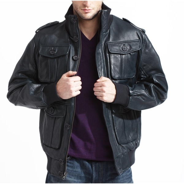 171efedffe32 Shop Men's Navy Lambskin Leather Bomber Jacket - Free Shipping Today ...