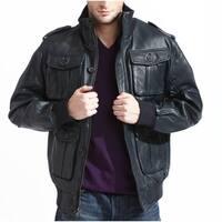 Men's Navy Lambskin Leather Bomber Jacket