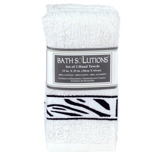 Bath Solutions Zebra Print Three Piece Hand Towel Set