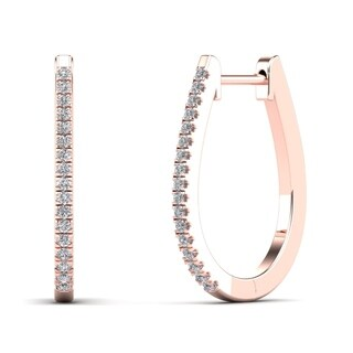 AALILLY 10k Rose Gold 1/8ct TDW Diamond U-Hoop Earrings (H-I, I1-I2)