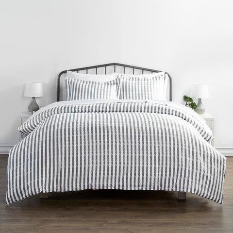 Merit Linens Premium Ultra Soft 3 Piece Rugged Stripes Duvet Cover Set