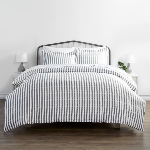Merit Linens Premium Ultra Soft 3-piece Rugged Stripes Duvet Cover Set. Opens flyout.