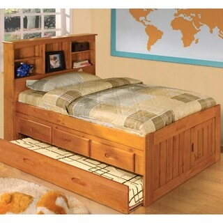 American Furniture Classics Solid Honey Pine Twin Captains Bookcase Bed with Twin Trundle and 3 Drawers