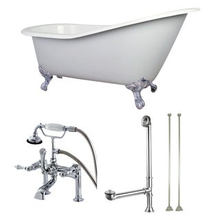 Vintage Slipper 61-inch Cast-iron Clawfoot Tub with Faucet Combo