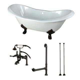 Double Slipper 72-inch Cast Iron Clawfoot Bathtub with Faucet Combo