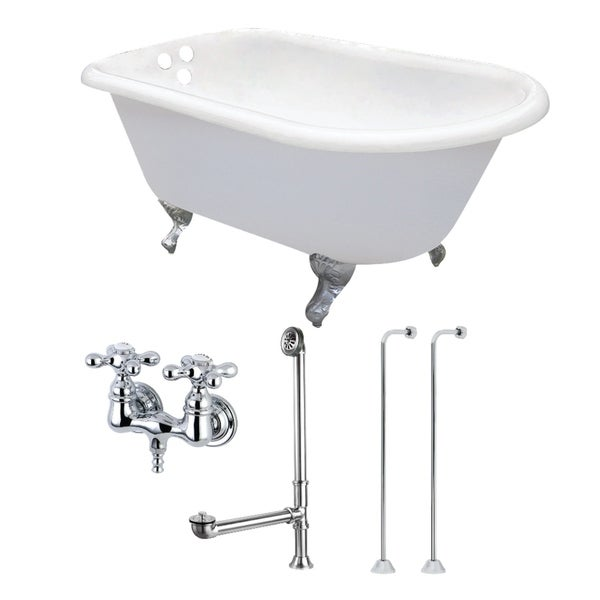 Classic Roll Top Petite 54-inch Cast Iron Clawfoot Tub with Faucet Combo