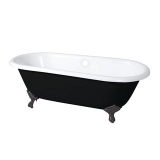 Black Cast Iron Double-ended 66-inch Clawfoot Bathtub with Oil Rubbed Bronze Feet