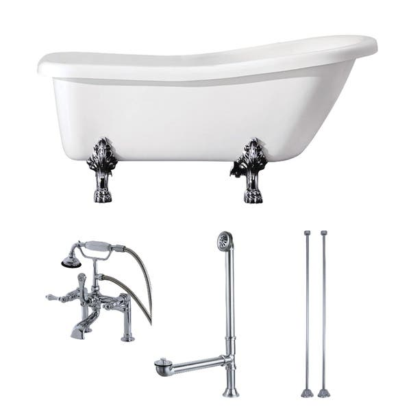 Slipper 69 Inch Acrylic Clawfoot Tub With Faucet Combo
