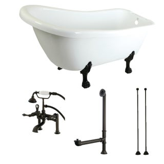 Slipper 69-inch Acrylic Clawfoot Tub with Faucet Combo