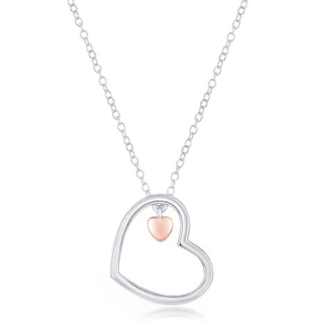 La Preciosa Sterling Silver Open Heart w/ Small Rose Gold Heart Charm 16+2'' Necklace
